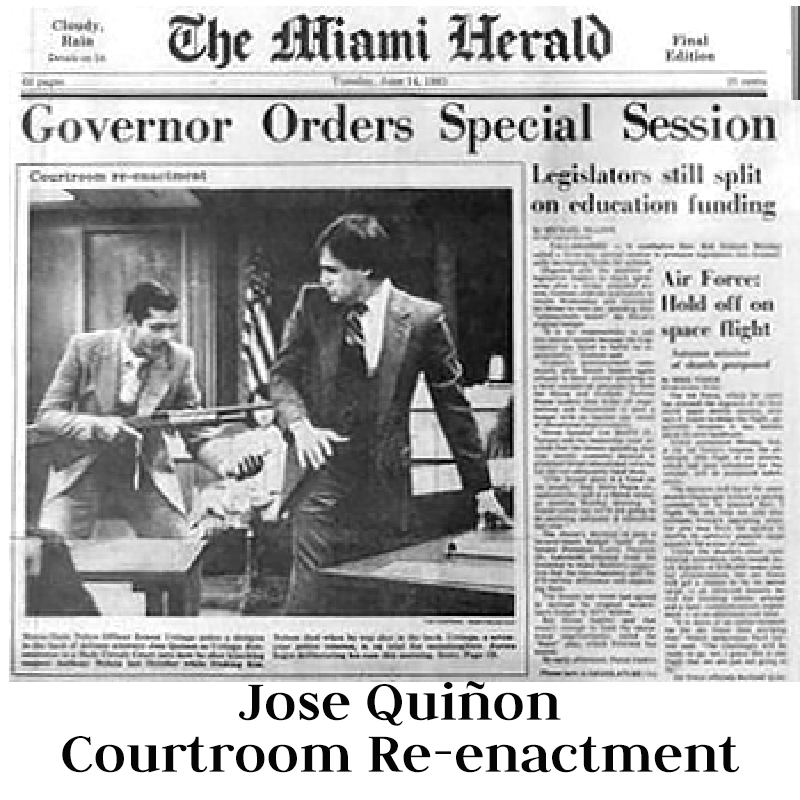 Jose Quinon (C), attorney for alleged Medellin cartel kingpin Fabio Ochoa, answers questions from the media after Ochoa's federal arraignment 10 September 2001 at the Federal Courthouse in Miami, Florida. Ochoa, who was extradited from Colombia 08 September, is alleged to have shipped millions of dollars of cocaine into the United States.Picture by Rhona Wise